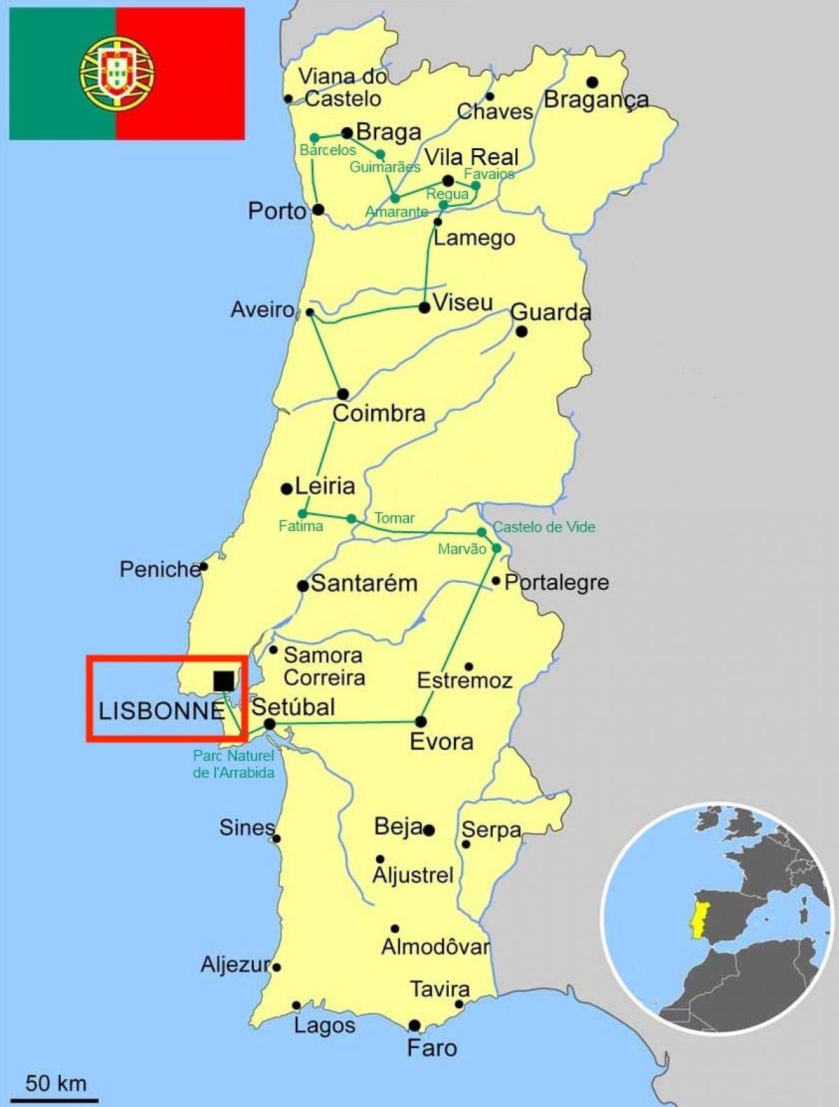 Portugal Kaart Van Lissabon Lisboa Portugal Kaart Portugal